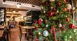 Christmas tree in restaurant interior