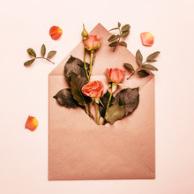 Spring Concept. Paper Envelope With Mini Coral Roses. Tinted