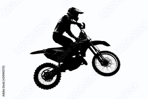 Fototapeta Motorcycle racer silhouette on isolated white background