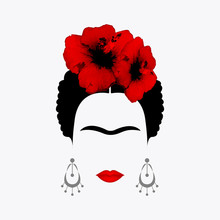 Portrait Of Mexican Or Spanish Woman Minimalist  With Earrings And Red Hibiscus Flowers, Vector Isolated