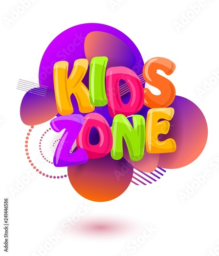 Stampa su Tela Abstract background with the inscription kids zone  on a white background