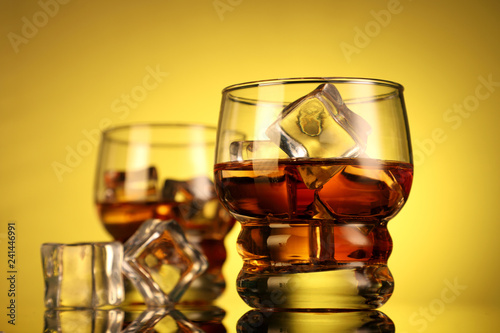 Chilled Whiskey Glass with Ice Cubes