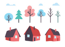 Houses Made Of Wood And Winter Trees Forest Vector