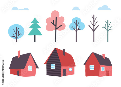 Houses Made of Wood and Winter Trees Forest Vector Fototapet