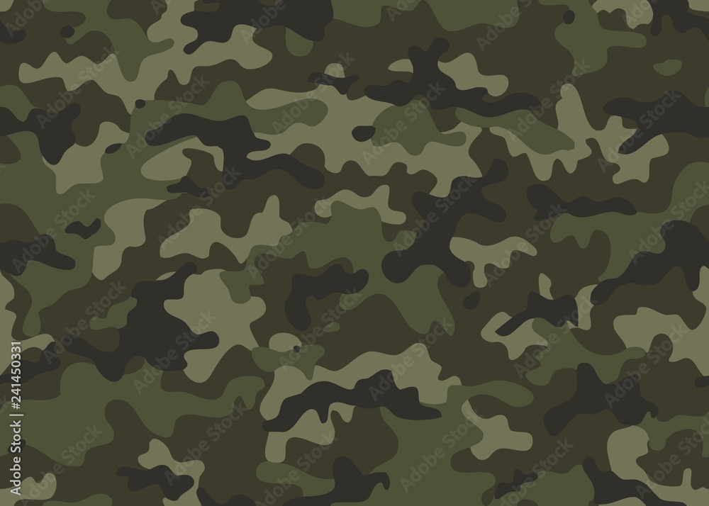 Fototapeta Print Texture military camouflage seamless pattern. Abstract army and hunting masking ornament repeat