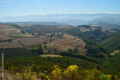Wonderful Views Of The Mountains In The Background Se Limits With Asturias In The Countryside Of Galicia. Nature, Landscapes, Botany, Travel. August 2, 2015. Rebedul, Lugo, Galicia, Spain.