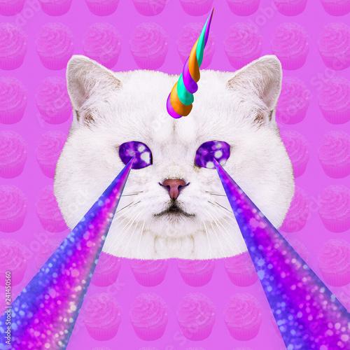 canvas print motiv - Porechenskaya : Unicorn Candy Cat with lasers from eyes. Minimal collage fashion concept