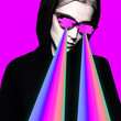 canvas print picture Fashion hipster girl with rainbow lasers from eyes.  Minimal collage art