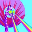 Leinwandbild Motiv Vacation Giraffe with rainbow lasers from eyes. Minimal collage funny art