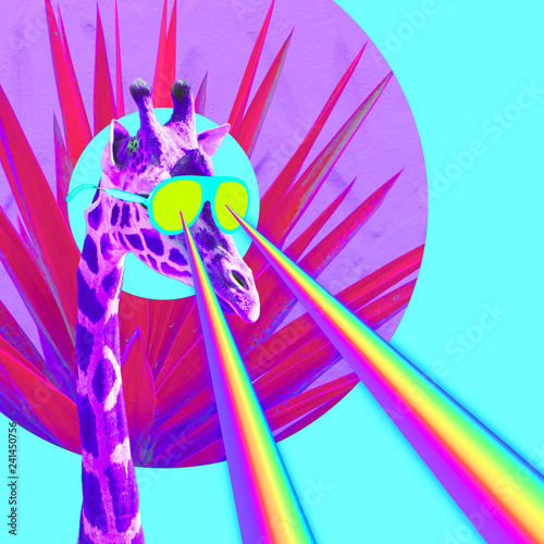 Naklejki specjalne  vacation-giraffe-with-rainbow-lasers-from-eyes-minimal-collage-funny-art