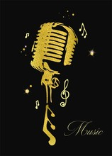Golden Glitter Microphone With Notes. Vector Illustration.