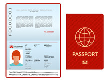 Opened International Passport Template With Red Cover, Personal Data Page With Woman Photo, Official Document, Vector Illustration