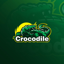 Crocodile Vector Logo Design Mascot With Modern Illustration Concept Style For Badge, Emblem And Tshirt Printing. Angry Crocodile Illustration.