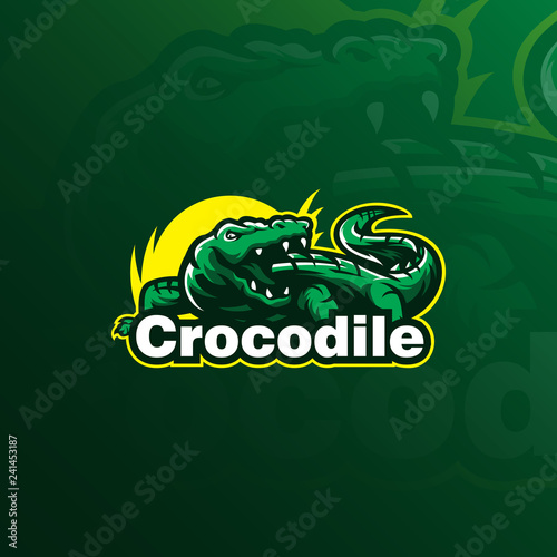 Stampa su Tela crocodile vector logo design mascot with modern illustration concept style for badge, emblem and tshirt printing