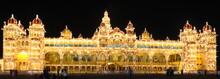 Beautiful Mysore Palace Brightly Lit At Night