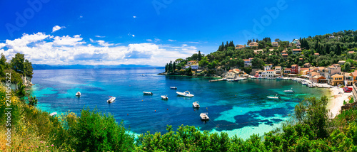 Scenic ionian islands of Greece - beautiful Paxos. view of Loggos bay and village