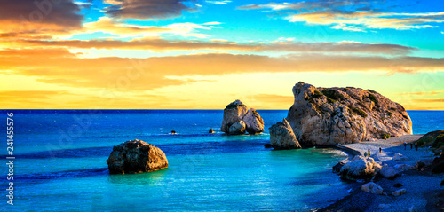 Spoed Foto op Canvas Blauw Best beaches of Cyprus - Petra tou Romiou over sunset