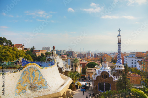 Overview of the entrance to park Guell Canvas Print