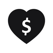 Love Of Money Icon. Dollar Sign In Heart