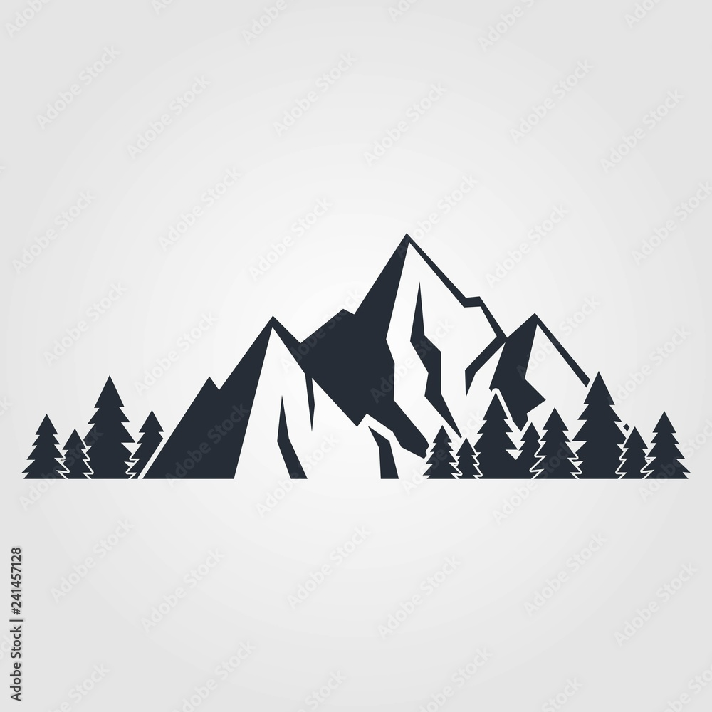 Fototapety, obrazy: Mountains icon isolated on white background. Vector illustration.