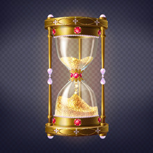 Golden Sand Clock Inlaid Rubies And Perls With Golden Shiny Sand Inside 3d Realistic Vector Isolated On Transparent Background. Original Jewelry Illustration. Precious Time Flow, Time Is Money Concept
