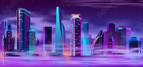Fotografia, Obraz  Future metropolis night landscape neon color cartoon vector with futuristic design illuminated skyscrapers on river shore shrouded in mist or smog illustration