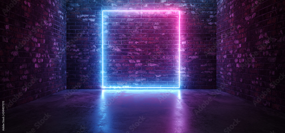 Fototapeta Futuristic Sci Fi Elegant Modern Neon Glowing Rectangle Frame Shaped Lines Tubes Purple Pink Blue Colored Lights In Dark Empty Grunge Concrete Brick Room Background 3D Rendering