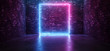 canvas print picture Futuristic Sci Fi Elegant Modern Neon Glowing Rectangle Frame Shaped Lines Tubes Purple Pink Blue Colored Lights In Dark Empty Grunge Concrete Brick Room Background 3D Rendering