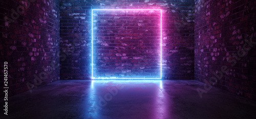 Futuristic Sci Fi Elegant Modern Neon Glowing Rectangle Frame Shaped Lines Tubes Purple Pink Blue Colored Lights In Dark Empty Grunge Concrete Brick Room Background 3D Rendering