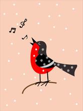 Singing Bird On A Pink Background