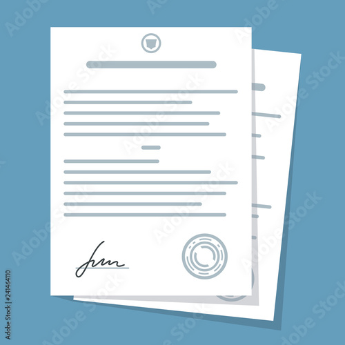 Fototapety, obrazy: Contract, document with signature. Vector