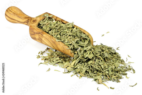 Foto op Canvas Kruiderij French tarragon in a wooden scoop made of olive wood isolated on white background