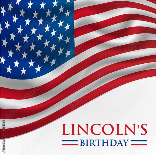 Fotografia  Linkoln's Birthday America or USA Flag Background Vector