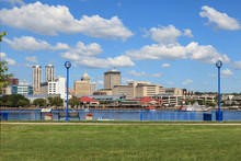 Panoramic Photo Of Downtown Peoria Photographed On The Other Side Of The Illinois River In East Peoria, Illinois.