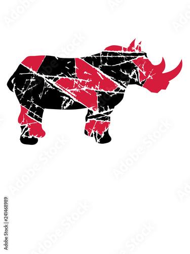 Fotografie, Obraz  silhouette kratzer risse rhino retten überleben aussterben bedroht dickhäuter na