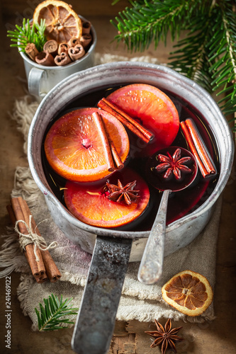 Hot and sweet mulled red wine for Christmas