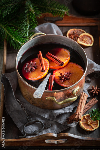 Sweet and delicious mulled red wine with cloves and anise