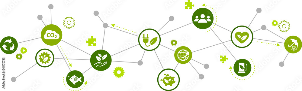 Fototapeta sustainability icon concept: renewable energy, ecology, environmental protection – vector illustration