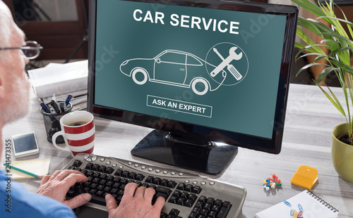 Car service concept on a computer