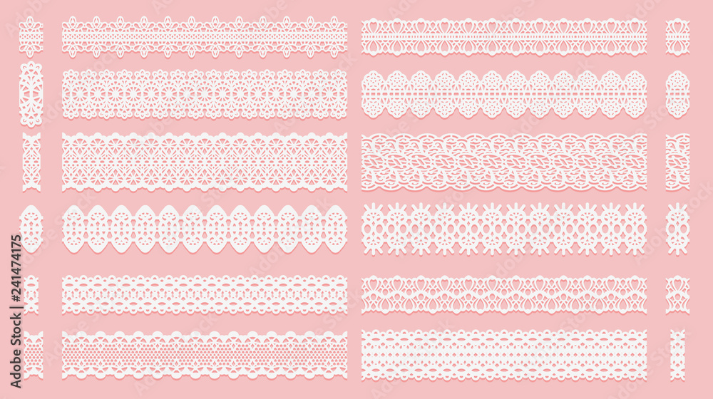 Fototapeta Set of lace pattern brushes. Tracery ribbons isolated on a pink background. Elements for decor scrapbooking wedding invitations and cards.
