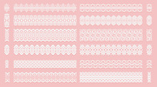 Set Of Lace Pattern Brushes. Tracery Ribbons Isolated On A Pink Background. Elements For Decor Scrapbooking Wedding Invitations And Cards.