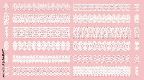 Vászonkép Set of lace pattern brushes