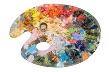 Art Palette With Acrylic Paints On An Isolated Background
