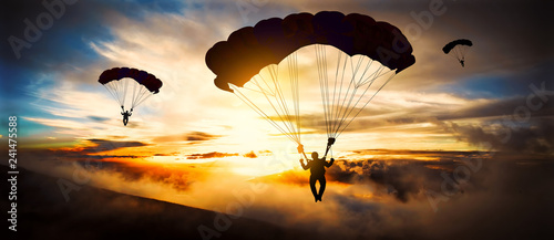 Spoed Fotobehang Luchtsport Silhouette parachutist landing at sunset