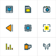 Music Icons Colored Line Set With Audio Mixer, Full Screen, Photo Apparatus And Other Amplifier  Elements. Isolated Vector Illustration Music Icons.