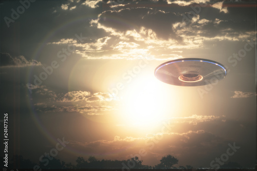 Poster UFO Unidentified flying object UFO in cloudy sky. 3D illustration in real picture. Old style film photo.