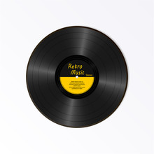 Realistic Black Vinyl Record. Retro Sound Carrier. New Gramophone Yellow Label LP Record With Text. Musical Long Play Album Disc 78 Rpm. Old Technology Isolated On White Background