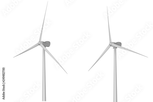 Fotografie, Obraz  Two windmills with different rotation angles isolated on white background - wind