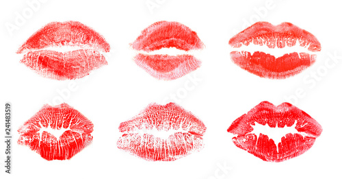 Fotografiet Set with color lipstick kiss marks on white background