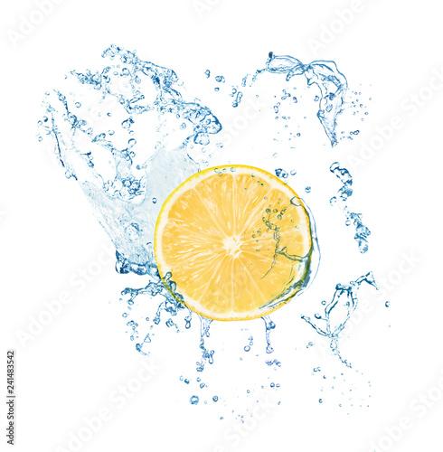 Cut fresh lemon and splashing water on white background